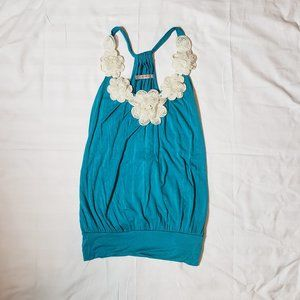 Rue21 Teal Racerback Tank with cream flowers